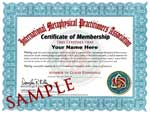 Membership Certificate and Ethics Course Certificate of Completion. Click to enlarge.